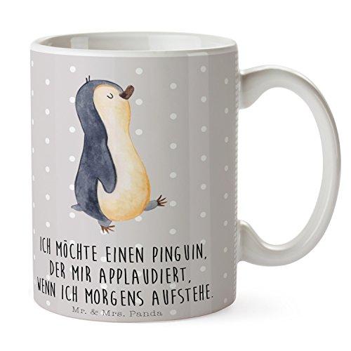 Mr. & Mrs. Panda Tasse Pinguin marschierend - 100% handmade in Norddeutschland - Kaffeetasse, Pinguin, Frühstück, Schwester, Teetasse, Familie , Langschläfer, Keramik, Porzellan, Becher, Frühaufsteher, Tasse