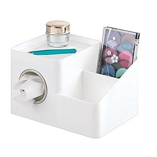 mDesign Kosmetiktuchbox mit Aufbewahrungsmöglichkeit – Kosmetiktuchspender für Bad und Waschtisch – Taschentuchspender mit Ablage – weiß