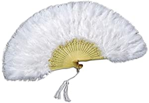NEW WHITE FEATHER FAN FRENCH MAID FANCY DRESS (accesorio de disfraz)