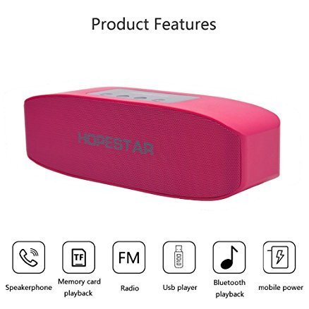 Xiaomi Redmi Note 4X Compatible Hopestar H11 Bluetooth Speaker Wireless Multimedia Stereo Speaker / Pen drive Supported, Connecting with Mobile / Tablet / Laptop / Aux / Memory Card / Pen Drive / FM by Himtronics - Pink