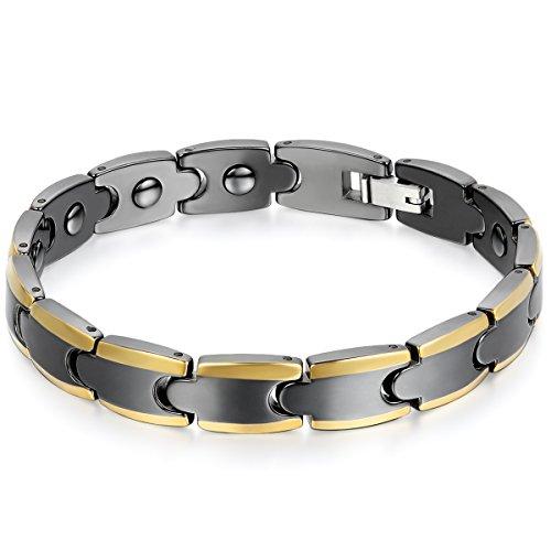 JewelryWe Schmuck Herren Armband, Keramik Porzellan, Klassiker Elegant Poliert Link Magnetarmband Armkette, Schwarz Gold