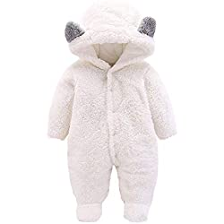 Ropa Bebe Invierno Recién Nacido Pijama Bebés Mameluco Niñas Niños Peleles Sleepsuit Conjunto de Ropa Invierno Niñas Niños Bodies Monos Peleles (A-Blanco, 3-6 Mes)
