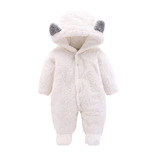 Infant Baby Teddy-Fleece Strampler Overall Yanhoo Langarm Einfarbig Cartoon Tier Verdickung Plus SAMT mit Kapuze Fußteil Jumpsuit