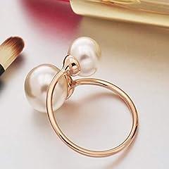 Idea Regalo - Elviray Anello di barretta Creativo dei monili Eleganti delle Donne con l'anello Regolabile del Metallo di Modo della Perla per la Festa Nuziale
