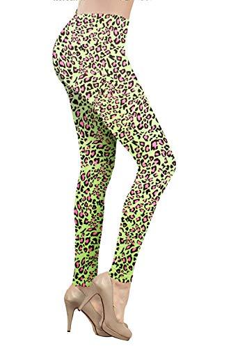 Smile Fish Damen Leggings, volle Länge, Stretch, Hose für 80er Jahre-Kostüm Gr. S, Green Leopard