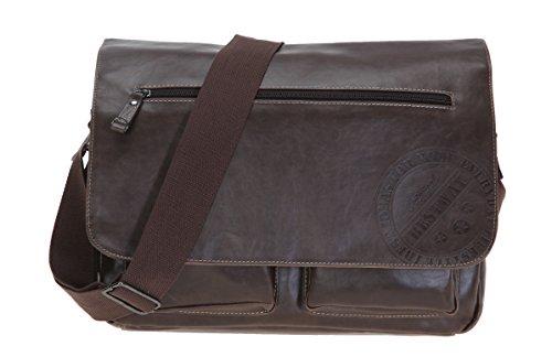 Preisvergleich Produktbild BESTWAY Tasche JOE VINTAGE DIN A 4 XL Schultertasche Kunstleder Laptoptasche BRAUN + Ledermäppchen