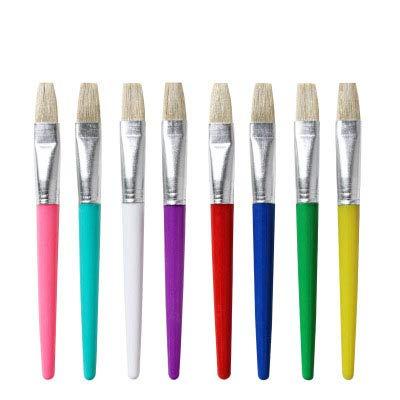 Candy Color 8 flache Kunststoff-Stangen Schweinehaar Kinder Malset DIY Graffiti Malerei Ölpinsel Set