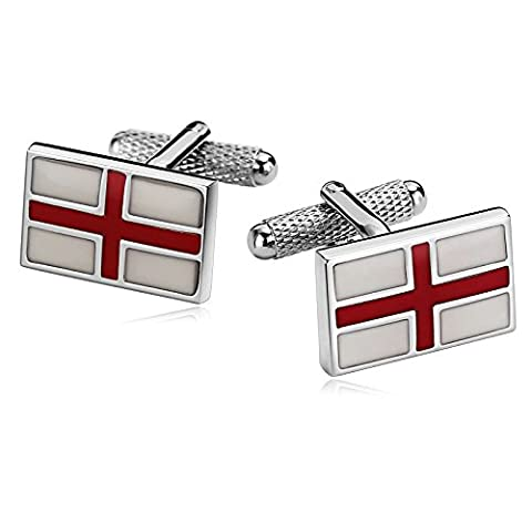 AMDXD Bijoux en acier inoxydable Boutons de manchette pour hommes rectangle Croix Blanc Rouge Manchette 1.9x 1.2cm