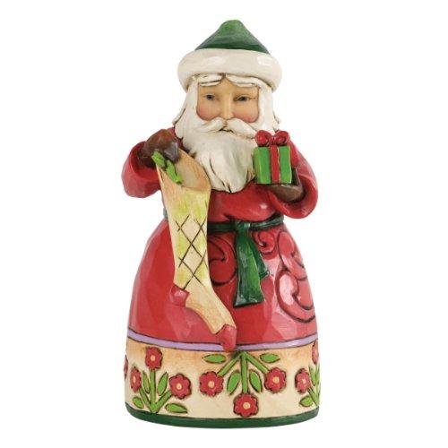 Heartwood Creek 4034369 Piccolo Babbo Natale con Calza Resina, Design di Jim Shore, 13 cm