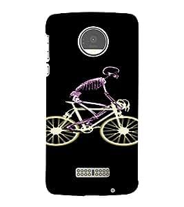 PrintVisa Skeleton Cycle Design 3D Hard Polycarbonate Designer Back Case Cover for Motorola Moto Z
