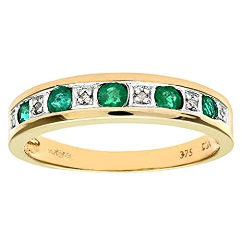 Naava Women's Diamond with Emerald Pave Setting Eternity Ring in 9 ct Yellow Gold Size:M