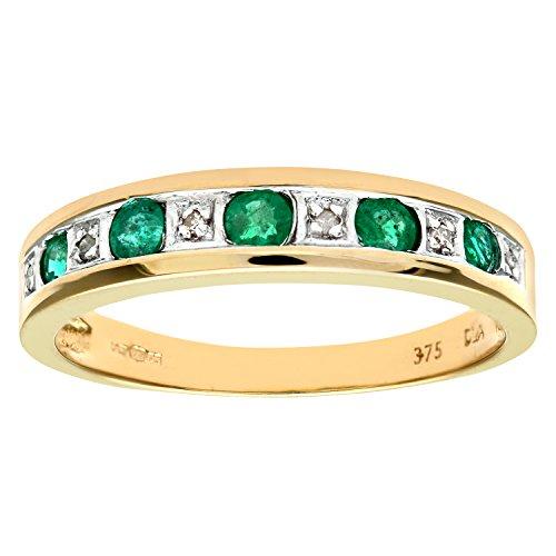 Bague - PR3027DIA+EMERALD(N) - Anillo de mujer de oro amarillo (9k) con esmeraldas y diamantes (talla: 14)