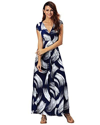 Maxi-kleid Plus Blau Größe (Aofur PLUS GRÖSSE 36-50 Damen V-Ausschnitt Maxi Sommer Lange Rock Abendkleid Partykleider Cocktailkleider (DE 42 44/ Tag L, Blau))