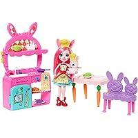 Enchantimals Coffret La Cuisine du Lapin, Mini-poupée Bree Lapin et Figurine Animale Twist avec accessoires de cuisine, jouet enfant, FRH47