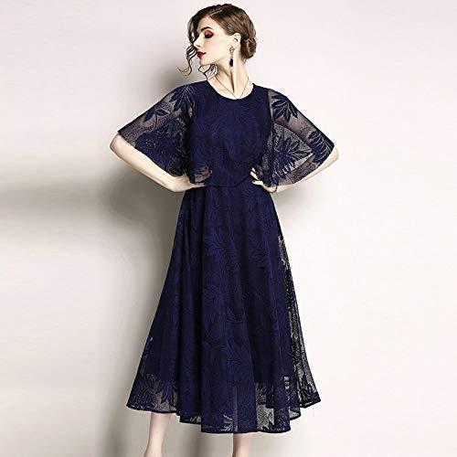 QUNLIANYI Abendkleid Abiballkleid Black Lace Dress Mesh Leaves Floral Bedruckte Stickerei Elegant Midi Kleider Frauen Cloak Sleeves XXL Navy Blue Black Lace Abendkleid