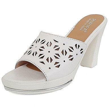 zhENfu Donna Sandali Comfort PU esterna di estate passeggiate Chunky Heel Bianco Nero 1A-1 3/4in White