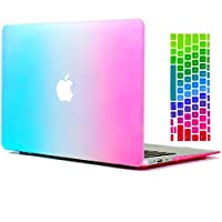 Macbook Air 13 Case Ultra Slim Matte Rubberized Hard Case Cover With Keyboard Cover Skin For MacBook Air 13.3 inch (A1466/A1369),Colorful Rainbow [saf]