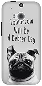The Racoon Lean happy pug hard plastic printed back case for HTC One (M8)