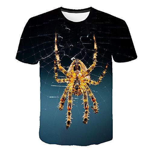3D-Druck T-Shirt lässig Herrenbekleidung Straße Hip-Hop Herren Rundhals-Shirt, Spinne Spinnennetz Digitaldruck L - Lee T-shirt Hat