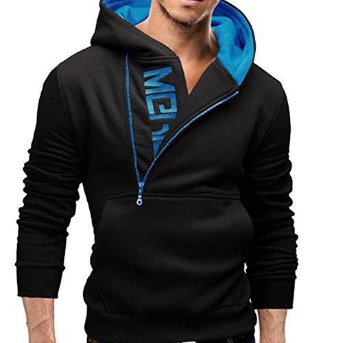 Kaiki TOP Fashion Mens Long Sleeve Hoodie Slim Designed Sweatshirt Tops Jacke Mantel Outwear Blue