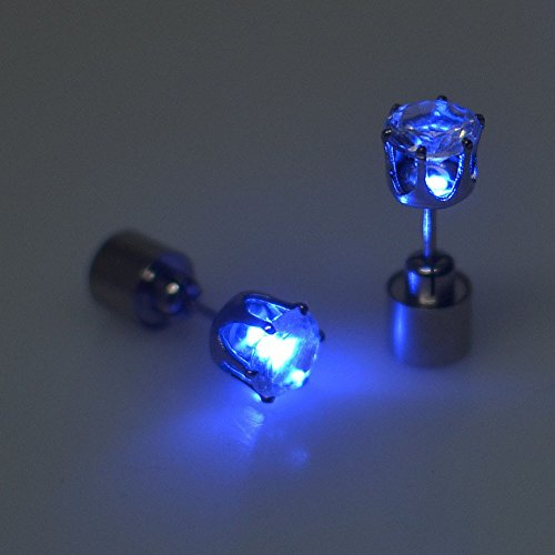 LED Ohrringe Leucht Ohrstecker Ohrringe blau leuchtende Ohringe mit Licht (Ab Stein Ohrringe)