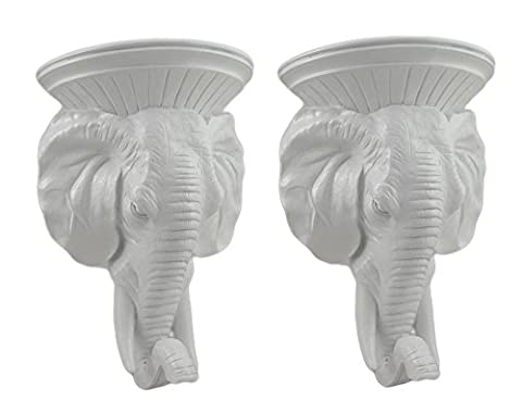 Glossy White Elephant Head Wall Sculpture Set of