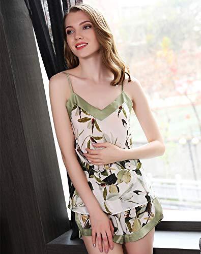 Damen Seide Cami Pyjama Set, Top & Shorts Sexy Leaf Print Nachthemd Nachtwäsche Nachtwäsche Seide Camisole Sommer Loungewear,L -