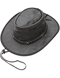 58f367029a1 Wombat Unisex Soft Brown Distressed Style Crushable Leather Bush Hat Chin  Strap Men s Woman s