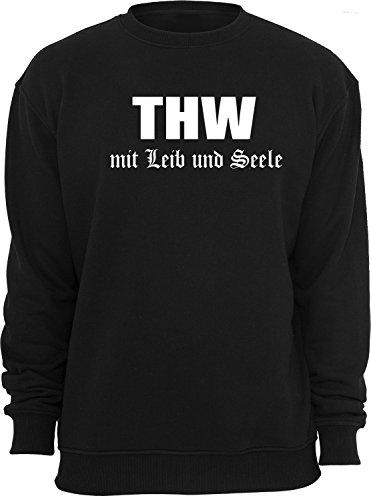 THW Mit Leib und Seele; Sweatshirt; schwarz; Unisex; 50/52; Gr. L