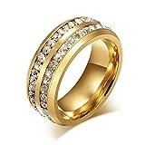 Blisfille Ringe Damen XL Damen Ringe Edelstahl (Mit Gratis Gravur) 2 Reihe Weiß Zirkonia Ehering Gold Größe 67 (21.3) Kostenlos Gravur
