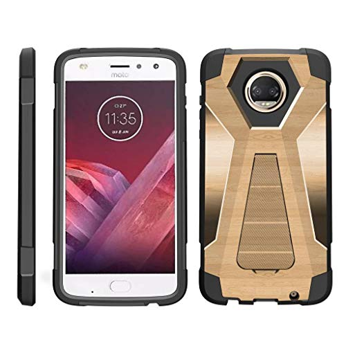turtlearmor | Motorola Moto Z2Force Fall | Moto Z2Play Schutzhülle [Dynamischer Shell] Hybrid Dual Layer Hard Shell Ständer Silikon Fall -, Maple Wood (Virgin 4g Mobile-smartphones)