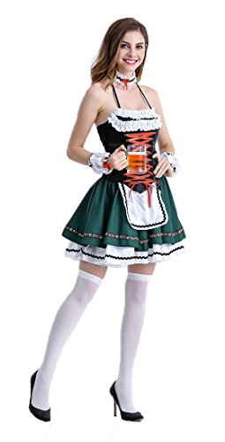 Honeystore Damen Halloween Kostüme The Munich Oktoberfest Fashion Uniform Cosplay Allerheiligen Kleider für Oktoberfest Dunkelgrün (Halloween Kostüm Verleih Online)
