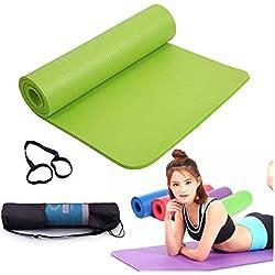 NBR Colchón Yoga Estera de TPE para Yoga - Pilates Mat - Eco Amistoso Mat,con Bolso y Correa de Transporte,para Pilates Ejercicios Fitness Gimnasia Estiramientos 183 * 61 * 1CM