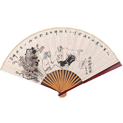 GWXLD Pieghevole Ventilatore Decorazione della Parete Cinese di bambù Giapponese Manico in Cotone Lino Dipinto A Mano Modello retrò Regali Personalizzati da Ballo B