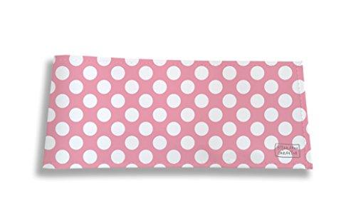 Porte-chéquier long horizontal à rabats pour femme (pour chéquier à double souche : à gauche et au dessus du chèque), Porte-chéquier correspondance femme, protège carnet de chèque Motif Pois blancs fond rose réf. 2070