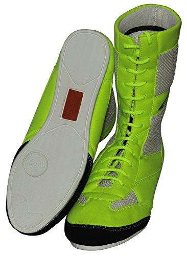 Uhr Sport, Boxen mit echtem Leder-Wrestling Schuhe Gummisohle–Mash –, für Erwachsene, neon, ()
