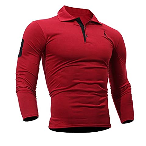 WSLCN Homme Sportif Polo Shirt Habillée Manches Longues Fitness Maillot Rouge FR S (Asie L)