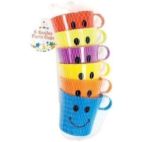 6 x vasos de cara sonriente de fiesta de plástico para ropa de niños las vacaciones Garden Beach tazas