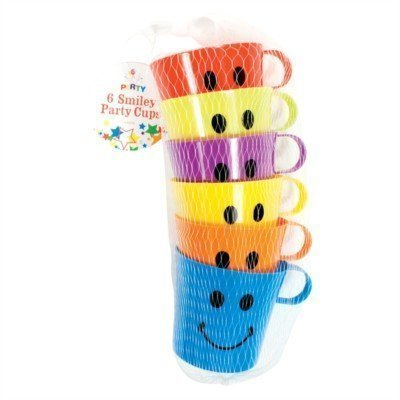 Smiley-Face-Cups-Childrens-Kids-Plastic-Party-Holidays-Garden-Beach-Mugs-6-12-or-24