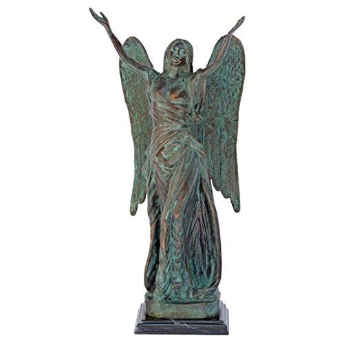 Design Toscano Bronzegartenfigur Celestine-Engel, bronze, 25,5 x 15 x 45,5 cm, MP345 (Bronze Engel Statue)