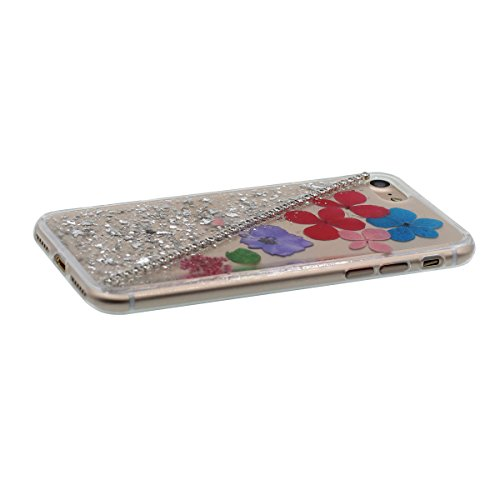 """iPhone 6S Coque Case Joli Briller Rose Poudre Bling Cristal Strass Exquis Fleurs Muster Flexible Transparente étui pour Apple iPhone 6 6S 4.7"""" Anti Choc Mince et Poids léger Gris"""