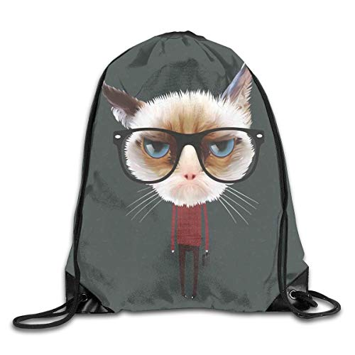 Jebnpse Printed Drawstring Backpacks Bags,Hipster Feline with Giant Head Plaid Shirt and Greyscale Background Funny Illustration,Adjustable String Closure -