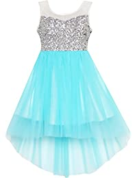 Sunny Fashion Robe Fille Sequin Mesh Partie Mariage Princesse Tulle 7-14 ans