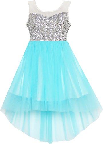 Mädchen Kleid Pailletten Masche Hochzeit Prinzessin Tüll Blau Gr.116 Blaues Pailletten Kleid