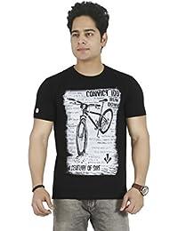 Basilio Men's Graphic Prints Pure Cotton Black T-Shirt
