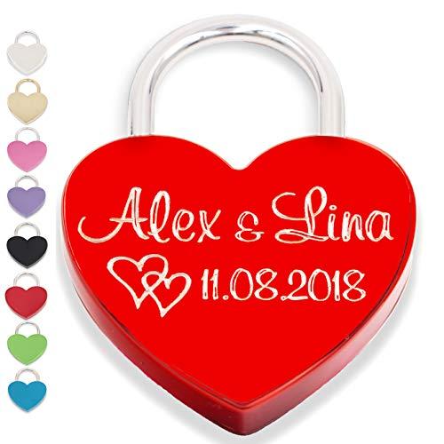 Liebesschloss Herzschloss liebes schloss rot mit Gravur und Schlüssel graviert Geschenkverpackung liebeschloss herzform(Vorderseite, rot)