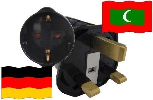 Preisvergleich Produktbild Urlaubs Reiseadapter Malediven für Geräte aus Deutschland Kindersicherung und Schutzkontakt 250V