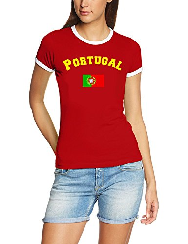Portugal T-Shirt Damen weiss-rot, Gr.M