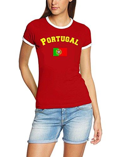 Portugal T-Shirt Damen Weiss-rot, Gr.S