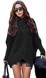 Mikos*Damen Poncho Strick Pullover Jacke Cardigan Fledermausärmel Japan Style SM Schwarz Grau (423) (Schwarz)